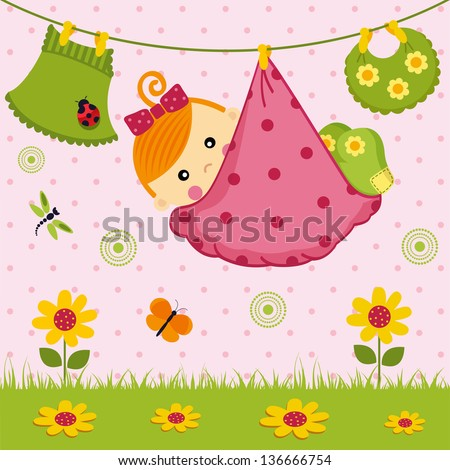 cute little girl in diaper/ baby girl in a diaper - stock vector