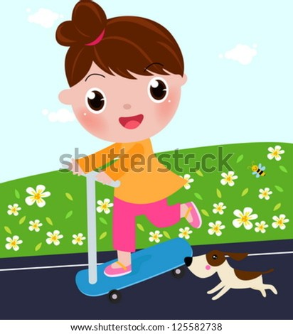 Cute little girl on scooter - stock vector