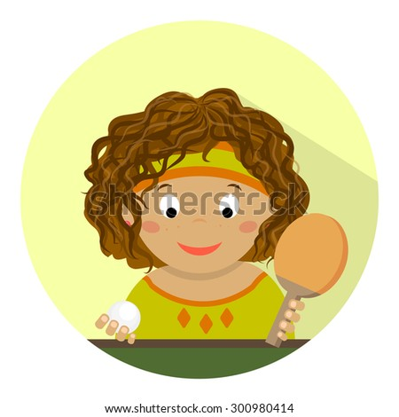 Cute little girl playing table tennis. Interest, sports, hobbies, child. Flat design. - stock vector