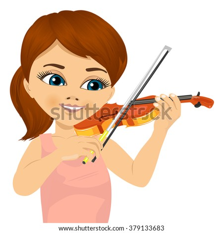 cute little girl playing violin