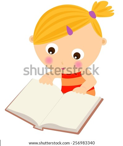 Cute little girl reading book - stock vector