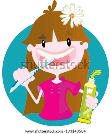 Cute little girl washing teeth - stock vector