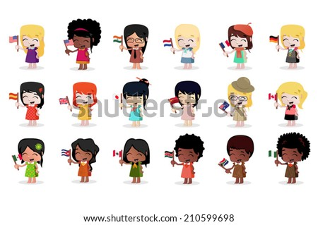 Cute little girl waving a Flag - stock vector