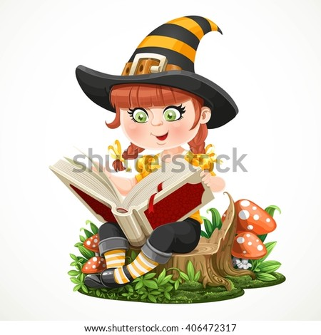 Cute little girl witch sitting on a tree stump and reads magic book isolated on white background