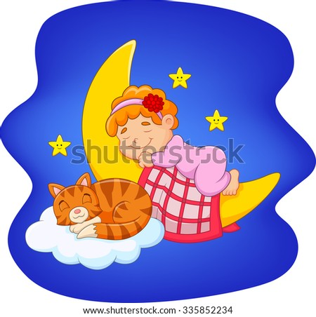 Cute little girl with cat sleeping on the moon  - stock vector