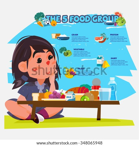 cute little girl with five food group. character design - vector illustration - stock vector
