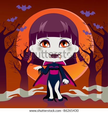 Cute little girl with Lady Dracula vampire costume for Halloween night party - stock vector