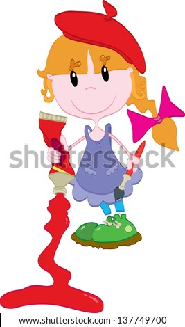 Cute little girl with paint - stock vector