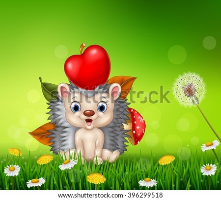 Cute little hedgehog in the beautiful grass background - stock vector