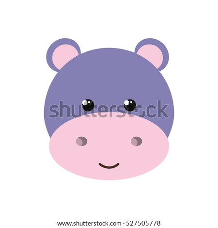 cute little hippo animal character