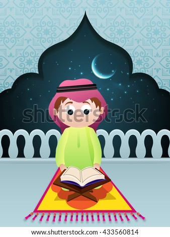 "Cute Little Islamic Boy reading Holy Book ""Quran Shareef"" in Mosque, Night Background for Islamic Festivals Celebration. - stock vector"