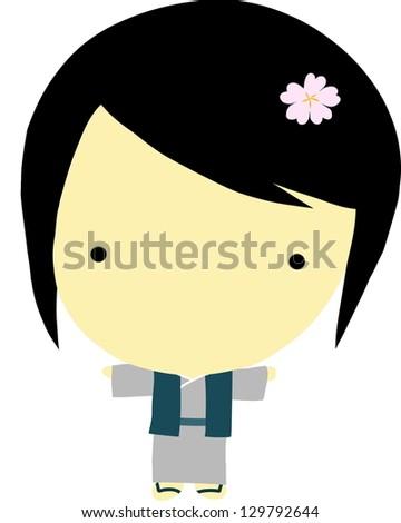 Cute little japanese girl - stock vector