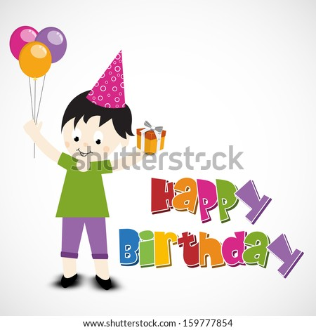 Cute little kid holding balloons and gift box with colorful happy birthday text on grey background.  - stock vector