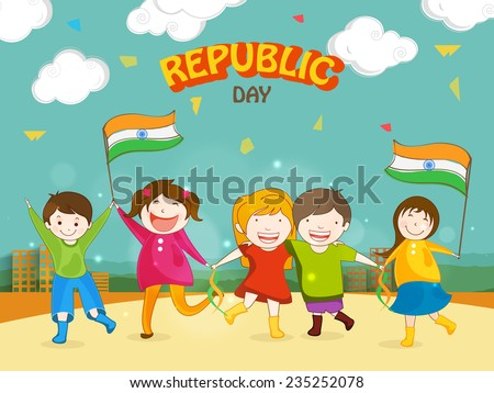 Cute little kids celebrating Happy Indian Republic Day with Indian National Flags on urban background. - stock vector