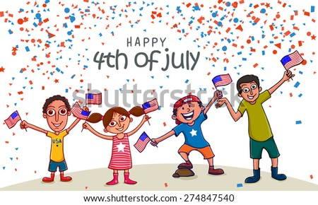 Cute little kids with national flags, enjoying and celebrating on occasion of American Independence Day . - stock vector