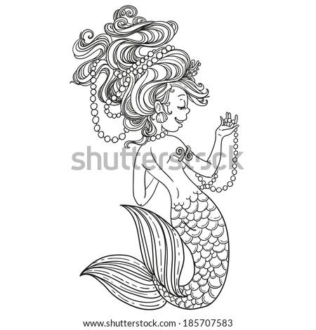 mermaid outline mermaid stock images royalty free images vectors