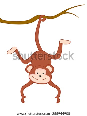 Monkey hanging by tail clip art