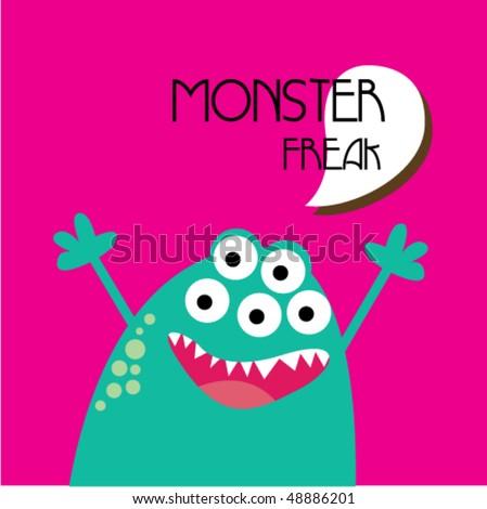 Cute little monster 4 - stock vector
