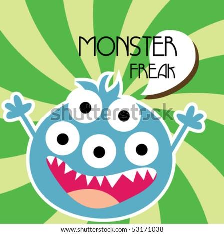 cute little monster 2 - stock vector