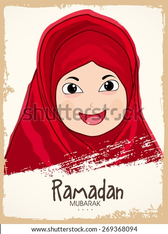 Cute little Muslim girl in hijab enjoying on occasion of Islamic holy month Ramadan Kareem celebration. - stock vector