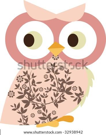 cute little owl character design - stock vector