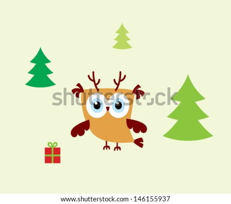 cute little owl in merry christmas