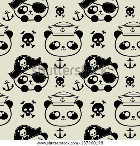 cute little panda sailors and pirate seamless - stock vector