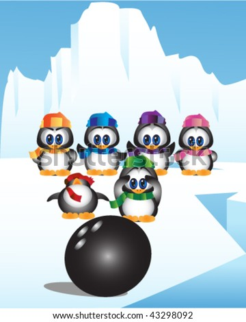 Cute little penguins playing bowling.