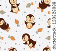 Cute little penguins seamless background - stock vector