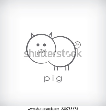 Cute little pig symbol in simple outlines suitable for corporate identity. Eps10 vector illustration. - stock vector