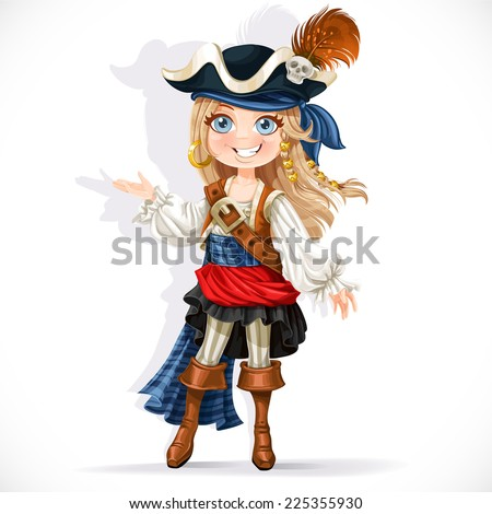 Cute little pirate girl isolated on a white background - stock vector