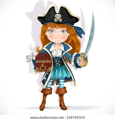 Cute little pirate girl with cutlass and treasure chest isolated on a white background - stock vector