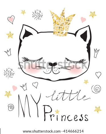 Cute  little princess cat girl - stock vector
