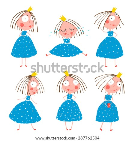 Cute Little Princess Girls in Poses Collection for Kids. Colorful fun childish hand drawn illustrations of fairy tale beautiful quirky character with big eyes for children. - stock vector