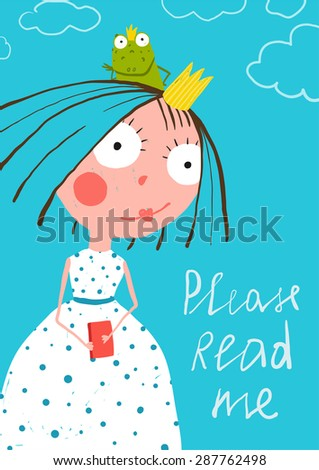 Cute Little Princess with Prince Frog Reading Fairy Tale Book Poster. Colorful a4 cute card with a sign for a little child about reading books. - stock vector