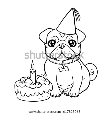 coloring pages of cute dogs celebrating birthday | lanapan's Portfolio on Shutterstock