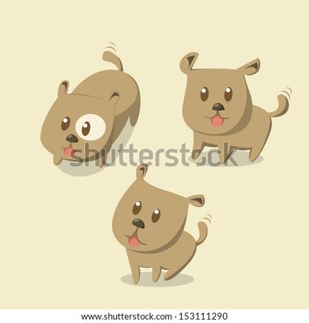 Cute little puppy - stock vector