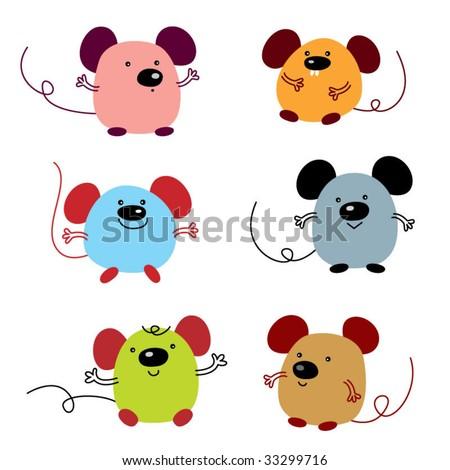 cute little rats - stock vector