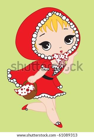 Cute Little Red Riding Hood runs with punnet. - stock vector