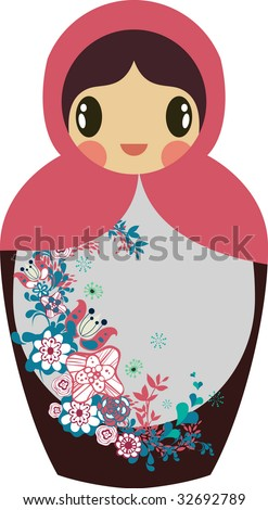 cute little Russian nested doll - stock vector
