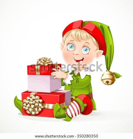 Cute little Santa`s elf sit and puts boxes with gifts  isolated on a white background - stock vector