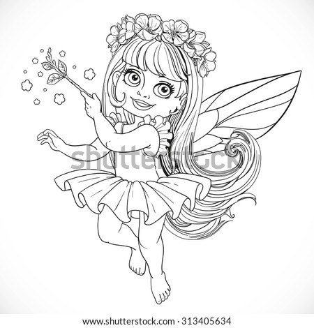 Cute little spring fairy girl in tutu with Magic wand outline isolated on a white background - stock vector