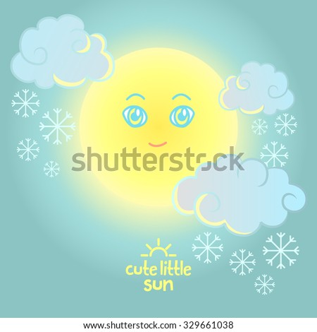Cute little Sun. Star, clouds, snow, snowflakes in sky. Background and elements for web design, posters, flyers, postcards. Vector cartoon character. - stock vector