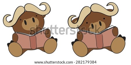 cute little water bull reading cartoon set in vector format very easy to edit - stock vector