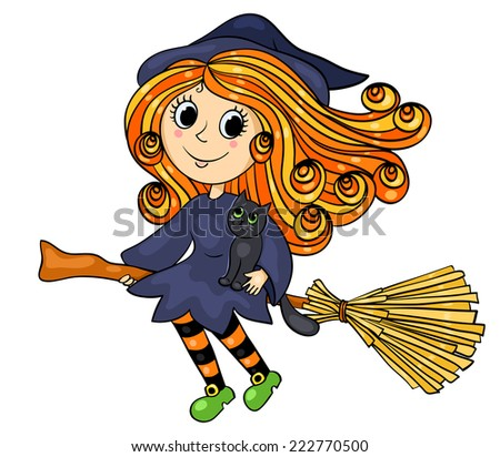 Cute little witch flying. Cartoon vector illustration. Isolated on white. - stock vector