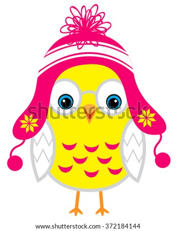 Cute little yellow cartoon baby chicken isolated on a white background - stock vector