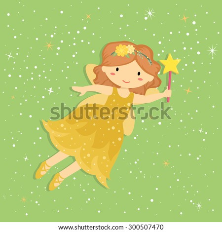 Cute Little Yellow Fairy. Illustration of Cute Little Yellow Fairy with Wand and Stardust Flying in Star Green Background. - stock vector