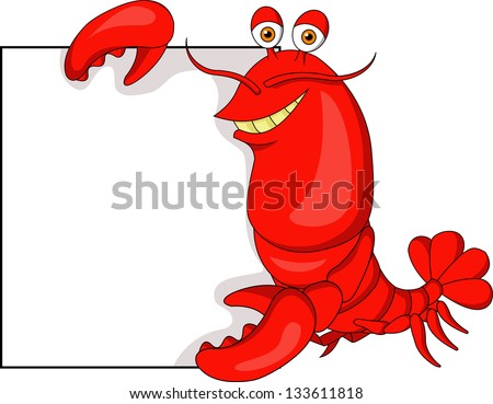Cute Lobster with blank sign - stock vector
