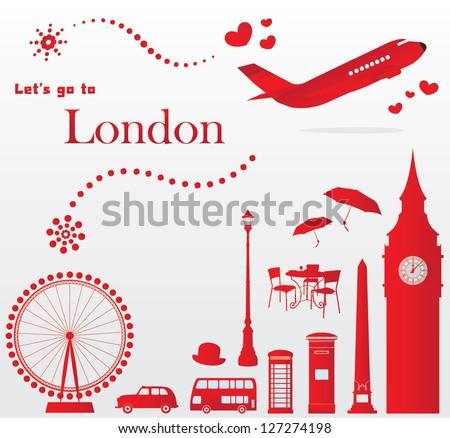 cute London travel set - stock vector