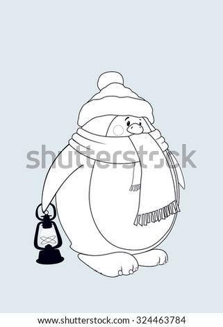Cute looking penguin with scarf and Santa's cap carrying a lantern.Coloring book vector illustration